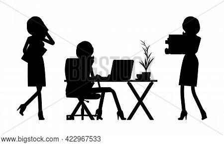 Female Black Silhouette, Businesswoman Slim Sexy Office Worker At Desk. Administrative Manager Perso