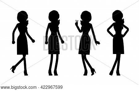Female Black Silhouette, Businesswoman Slim Sexy Office Worker. Administrative Smart Manager Person,