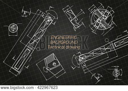 Mechanical Engineering Drawings On Blue Background. Drill Tools, Borer. Technical Design. Cover. Blu