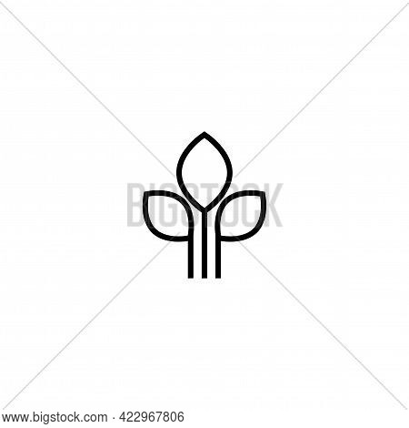 Three Black Line Sprouts, Sprigs, Raw With Silhouette Leaf. Icon Isolated On White. Logo For Eco Com