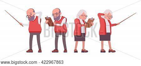 Old Teacher, Female, Male Senior Professor, School Tutor With Pointer. Experienced Elderly Master, A