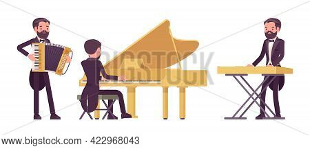 Musician, Elegant Tuxedo Man Playing Professional Keyboard Instruments. Classical Music Event, Conce