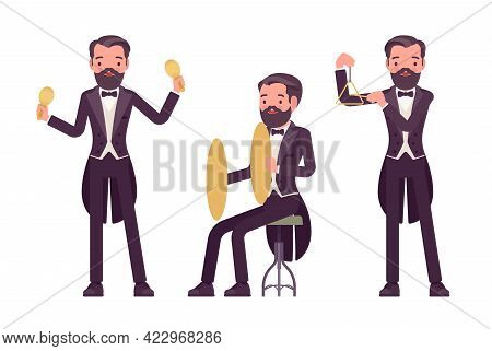 Musician, Elegant Tuxedo Man Playing Professional Percussion Instruments. Classical Music Event, Con