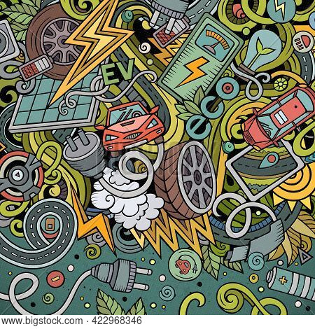 Cartoon Cute Doodles Electric Vehicle Frame Card. Colorful Detailed, With Lots Of Objects Background
