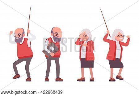 Old Angry Teacher In Negative Emotions, Female, Male Senior Professor, University, School, College T