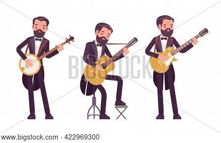 Musician, Elegant Tuxedo Man Playing Professional Banjo, Guitar Instruments. Classical Music Event,