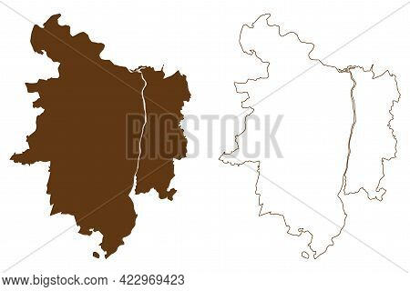 Stendal District (federal Republic Of Germany, Rural District, Free State Of Saxony-anhalt) Map Vect