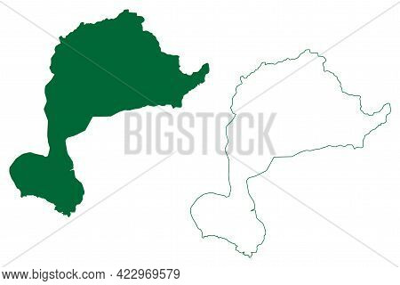 West Jaintia Hills District (meghalaya State, Republic Of India) Map Vector Illustration, Scribble S