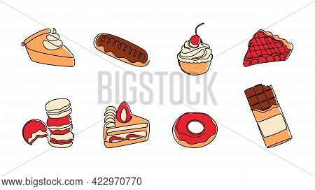 Continuous Line Desserts. Sweet Food Monoline Concept With Cakes Pies Donut Eclair Cupcake And Choco