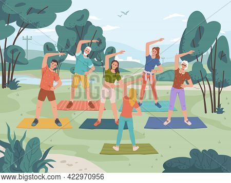Group Fitness Outdoor Class In City Park. Yoga Exercise On Fresh Air, Man And Woman Training Togethe
