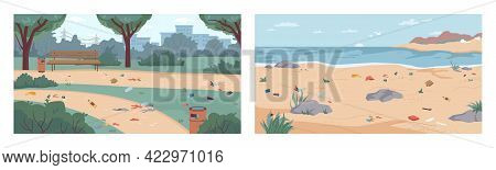 Dirt And Debris On Beach And In Park, Rubbish On Ground And Sand, Flat Cartoon Illustration. Garbage