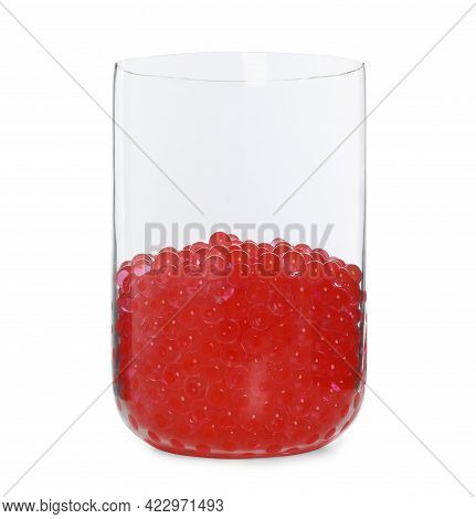 Red Filler In Glass Vase Isolated On White. Water Beads