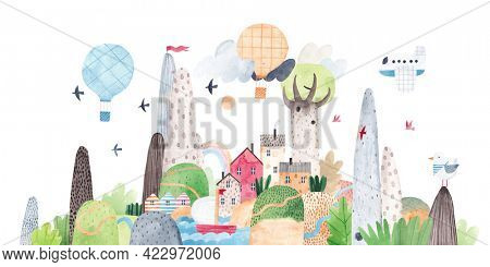 Mountain landscape. Watercolor illustration with mountains, hills, river, lake and cute village, balloons and birds. Traveler's postcard. Painting for the children's room.