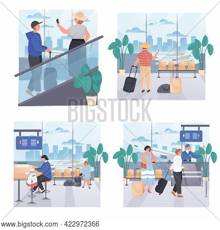 Airport Concept Scenes Set. Tourists With Luggage In Airport Terminal, Check In For Flight, Waiting