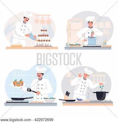 Cooking At Restaurant Concept Scenes Set. Chefs Preparing Delicious Meals In Kitchen, Pastry Chef Ma