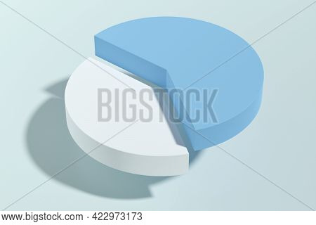Abstract Pastel Blue Forty-sixty Pie Chart Infographic Template Symbol, Profit, Growth Or Informatio