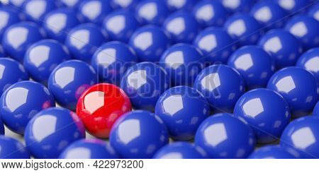 Single Red Sphere In The Middle Of Group Of Blue Spheres Background, Team, Leadership Or Individuali
