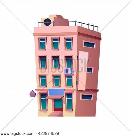 Modern Apartments Or Residential House, Contemporary Architecture Of Town Or City. Infrastructure An