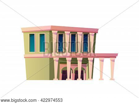 Town Vintage Architecture Of Suburbs, Isolated Structure With Columns And Exquisite Exterior And Fac