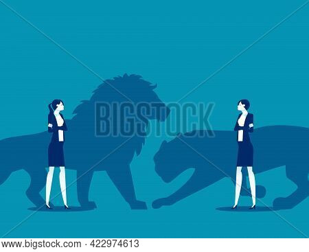 The Confrontation Of Business Competition Leaders. Silhouette Illustration