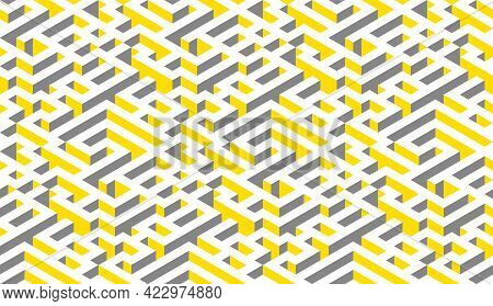 Illuminating Yellow And Ultimate Gray Seamless Isometric Maze. Yellow, Gray And White Abstract Endle