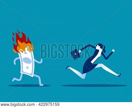 Running Away From Fire Money. Lose Money Investment In Financial Crisis