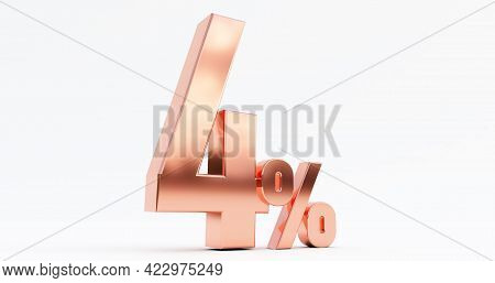 3d Render Of Bronze Four ( 4% ) Percent On A White Background.