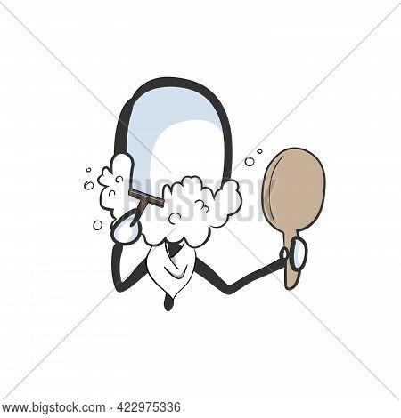 Shaving Man. Vector Simple. Shaving Foam. Stickman No Face Clipart Cartoon. Hand Drawn. Doodle Sketc
