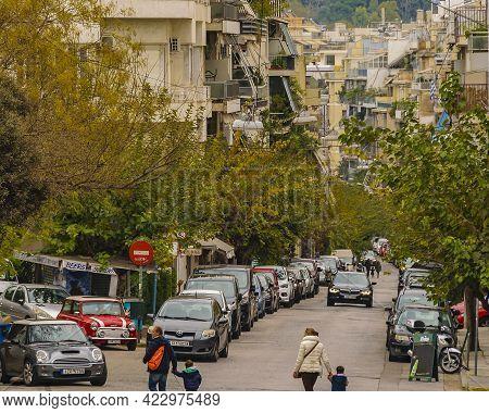 Urban Winter Scene, Plaka District, Athens