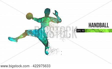 Abstract Silhouette Of A Wireframe Handball Player From Particles On The Background. Convenient Orga