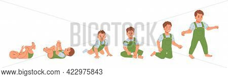 Baby Boy Development And Growth, Isolated Kid From First Day Of Life Till 1 Year. Healthy Evolution