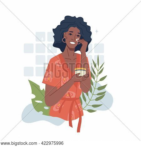 Afro American Girl Take Care Of Face, Apply Cream Or Herbal Essential Oil. Vector Black Woman Use Na