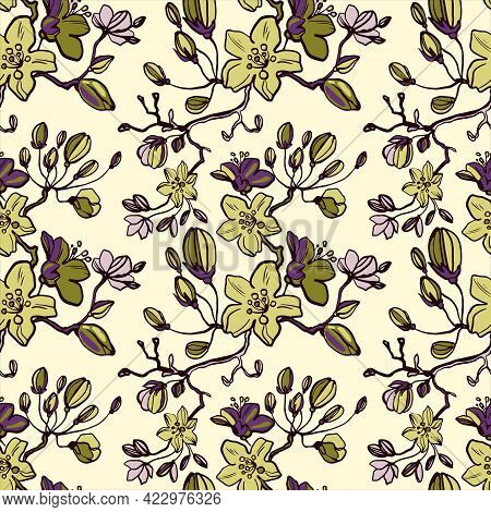 Flowering Branches Of Cherries, Apples, Pears, Buds, Leaves. Line Drawn Floral Seamless Pattern On A