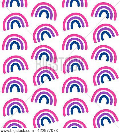 Vector Seamless Pattern Of Hand Drawn Doodle Flat Lgbt Bi Bisexual Flag Rainbow Isolated On White Ba