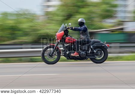 Samut Sakhon, Thailand - April 2021: Aas Harley-davidson,  Motorbike Driving With Speed-effect With