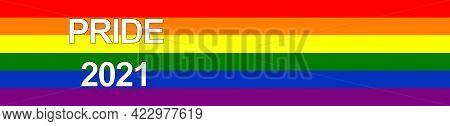 Pride Flag Poster. Rainbow Pride Horizontal Panoramic Banner. Pride 2021. Vector Design Element. Ill