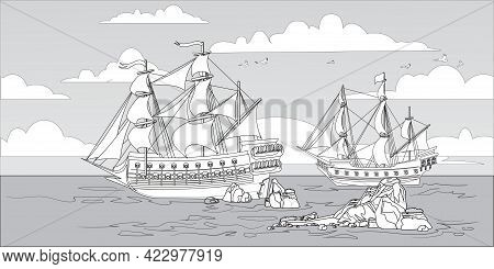 Landscape With Pirate Boats And Old Different Wooden Ships With Fluttering Flags Coloring Page For C