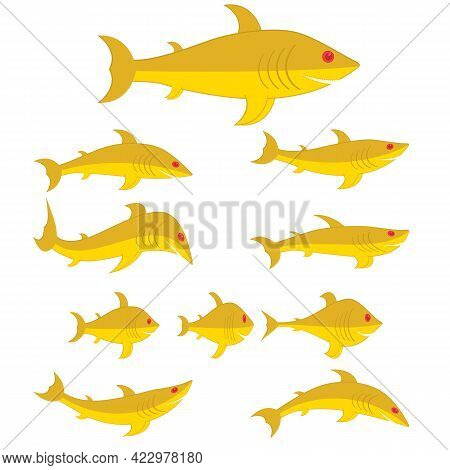 Goldfishes Set Of Different Shapes And Types. Cartoon Characters. Vector Illustrations.
