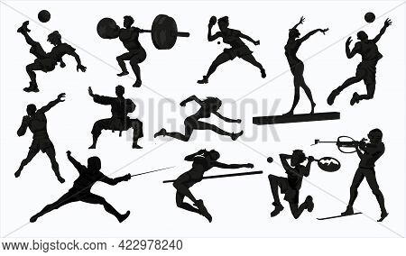 Sport People Silhouettes Set. Collection Of Different Sport Activity. Professional Athlet Doing Spor