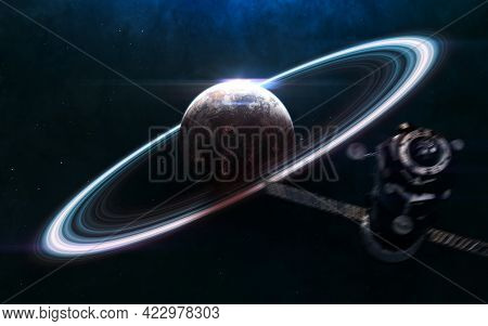 Planet In Deep Space. Space Station Blurred In Motion. Science Fiction. Elements Of This Image Furni