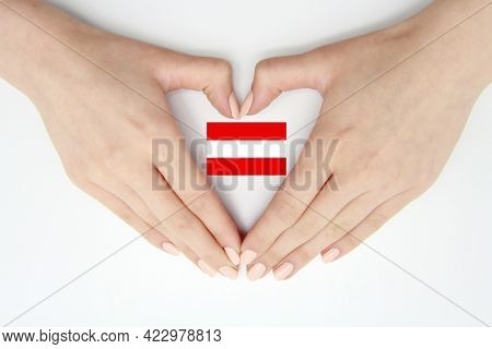 Women's Hands Create A Heart Inside The Flag Of Austria On A White Background.background For Austria