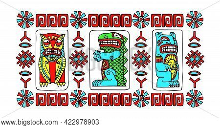 Indian Decorative Totem Animals, Owl, Crocodile, Bear, Patterns For Frame Or Border, Color Vector Il