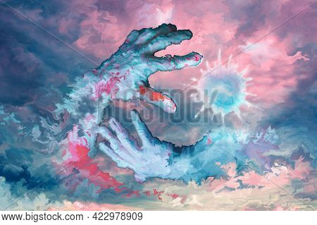 Two Painted Human Hands And Luminous Bubble Virus-like On A Bright Colorful Background. Touch Finger