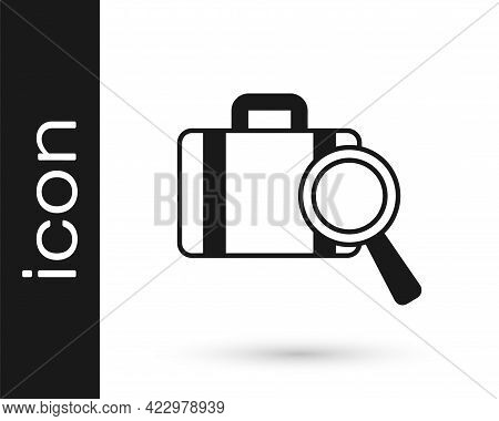 Black Airline Service Of Finding Lost Baggage Icon Isolated On White Background. Search Luggage. Vec