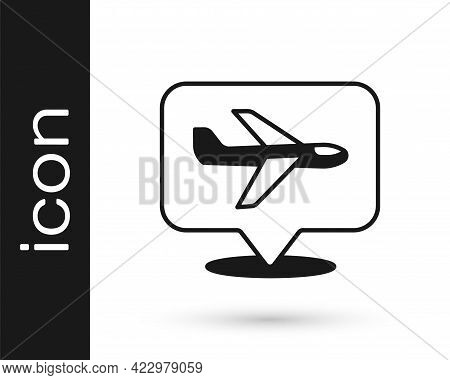 Black Plane Icon Isolated On White Background. Flying Airplane Icon. Airliner Sign. Vector