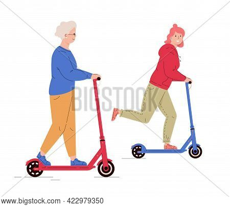 Old And Young Woman Riding Electric Walk Scooters. Mother And Daughter Driving E-scooters Together.