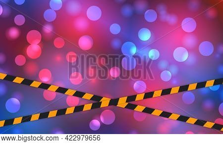 Police Flashing Light Flares Bokeh Background With Police Line. Emergency Lights Flash Red And Blue