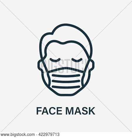 Man In Face Mask Line Icon. Medical Face Protection Mask Cover Mouth And Nose Of Human. Wear Respira