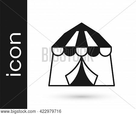 Black Circus Tent Icon Isolated On White Background. Carnival Camping Tent. Amusement Park. Vector