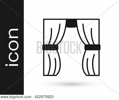 Black Circus Curtain Raises Icon Isolated On White Background. For Theater Or Opera Scene Backdrop,
